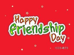 Colorful Text Happy Friendship Day on stars decorated red background, Beautiful Greeting Card, Vector illustration.