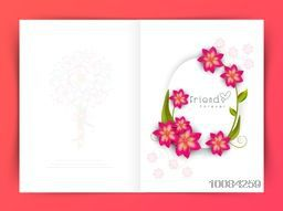 Pink flowers decorated beautiful Greeting Card for Happy Friendship Day Celebration.