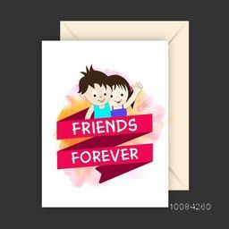 Greeting Card design with Envelope, Vector illustration of cute Friends for Happy Friendship Day Celebration.