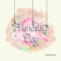 Stylish Text Friendship Day on abstract background, Beautiful vector greeting card design.