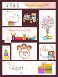 Creative Social Media Ads, Post, Headers or Banners with colorful elements for Happy Friendship Day Celebration.