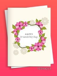 Flowers decorated Greeting Card with Envelope for Happy Friendship Day Celebration.