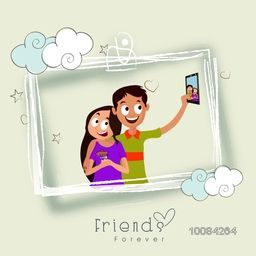 Vector illustration of Friends taking selfie on occasion of Happy Friendship Day, Beautiful Greeting Card design.