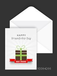 Greeting Card design with Gift, Best Friend Ribbon and Envelope for Happy Friendship Day Celebration.