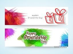 Creative, Website Header or Banner Set for Happy Friendship Day Celebration.