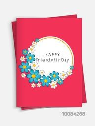 Beautiful Greeting Card with Flowers and Envelope for Happy Friendship Day Celebration, Vector illustration.