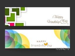 Colorful abstract design decorated, Website Header or Banner set for Happy Friendship Day celebration.