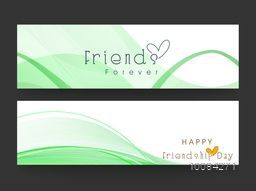 Creative Website Header or Banner set with abstract waves for Happy Friendship Day celebration.