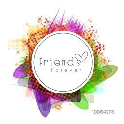 Sticky design with stylish text Friends Forever on colorful abstract background for Happy Friendship Day celebration.