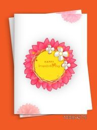 Beautiful flowers decorated, Greeting Card design with Envelope for Happy Friendship Day celebration.