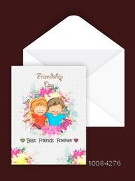 Greeting Card design with Envelope, Cute friends playing together on occasion of Friendship Day celebration.