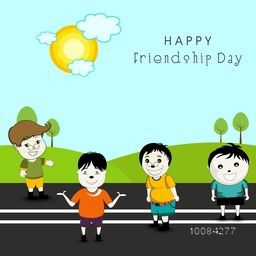 Cute Friends on nature background for Happy Friendship Day celebration.