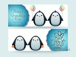 Website Header or Banner set with Cute Penguins holding balloons for Happy Friendship Day celebration.