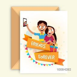 Cute Friends taking selfie together on occasion of Friendship Day, Elegant Greeting Card design with Glossy Ribbon and Envelope.