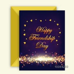 Golden Text Happy Friendship Day on hearts decorated beautiful glowing background, Elegant Greeting Card design with Envelope.
