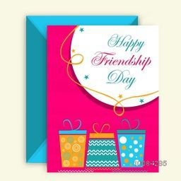 Colorful gifts decorated, Elegant Greeting Card design with Envelope for Happy Friendship Day celebration.