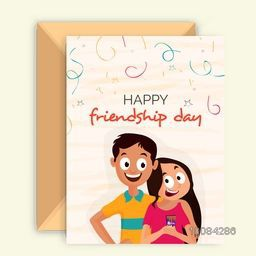Cute Happy Friends on abstract background, Elegant Greeting Card design with Envelope for Friendship Day celebration.