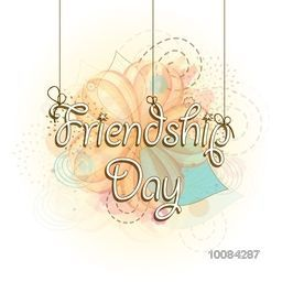 Stylish hanging text Friendship Day on abstract background, Can be used as Poster, Banner or Flyer design.