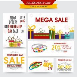 Friendship Day Sale and Discount Banner set with illustration of colorful gifts and stylish bands.
