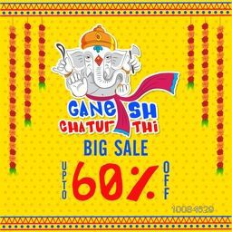 Big Sale Poster, Banner or Flyer, Flat Discount Upto 60% Off, Vector Illustration of Lord Ganesha on flowers decorated background for Ganesh Chaturthi Festivals Celebrated by Indians.
