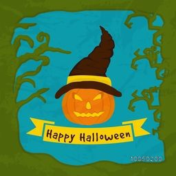 Scary pumpkin face wearing spooky hat in frame with Happy Halloween text in a label.
