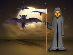 Illustration of a human skeleton holding a danger weapon with flying bats in the dangerous night scene.