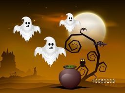 Illustration of flying ghost in desert with dry branches, flying bats, owl and a pot with silhouette image of dog, cat and crow.