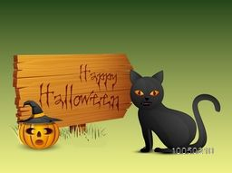 Horrible Halloween text on the wooden board with scary pumpkin wearing witch hat and a danger black cat.