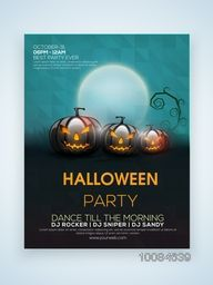 Glossy Flyer, Banner or Pamphlet with scary Jack O Lanterns for Happy Halloween Party celebration.