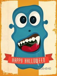 Flyer, Banner or Pamphlet with scary Monster face for Happy Halloween Party celebration.