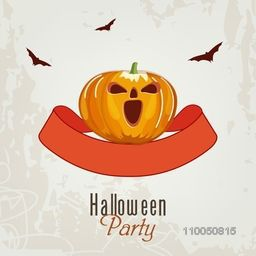 Halloween party celebration with scary Pumpkin in rounded ribbon on grungy background.