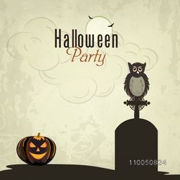 Halloween party celebration with scary pumpkin and owl sat on a grave stone on grungy background.