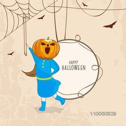 Little kid wearing a scary pumpkin face with rounded frame of Happy Halloween, birds flying and spider web on grungy background.