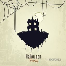 Happy Halloween night party celebration with haunted house, scary flying bad and spider web on grungy background.