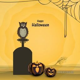 Scary pumpkins with scary owl sit on a grave stone and spider web for Halloween celebration on grungy background.