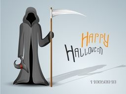 Halloween party celebration with scary vampire and stylish text of Halloween on shiny grey background background.