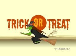Scary horrible vampire flying on horn broom with spooky text of Trick Or Treat on light