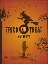 Scary horrible vampire flying on horn broom, spooky hand coming in grave, bat and scary text of Trick Or Treat party for Halloween celebration in horrible orange background.