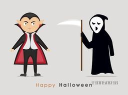 Halloween party celebration with two scary vampire and scary text of Halloween on grey background.