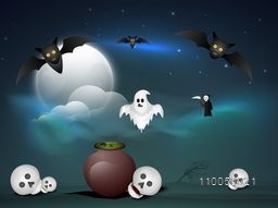 Halloween party celebration with scary skull, flying bat, vampire and traditional ghost on night navy blue background.
