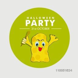 Scary yellow ghost holding horn broom with stylish Halloween party text and date.