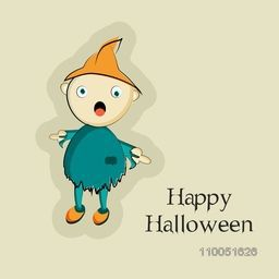 Horrible ghost in blue clothes and orange cap with stylish text Happy Halloween.