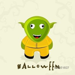 Scary laughing ghost in human clothes with stylish text Halloween on stylish background.