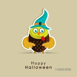 Scary owl wearing witch hat with stylish Halloween wishing text.