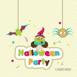 Scary face of owl wearing witch hat with hanging bat, spider and colourful text of Halloween party on dotted background.
