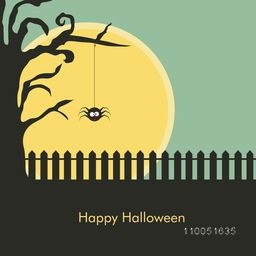 Horrible scene of night with hanging spider on dry branch and stylish Happy Halloween text.