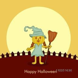 Dangerous pumpkin wearing witch hat and human clothes holding a horn broom in its hand with stylish text Happy Halloween.