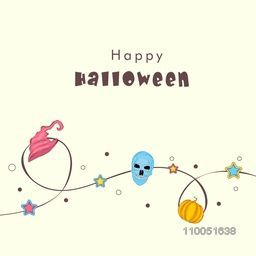 Illustration of a rope decorated with witch hat, star, skull and pumpkin with stylish text Happy Halloween.