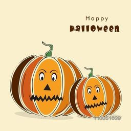 Illustration of two dangerous pumpkin faces with stylish Halloween wishing text.