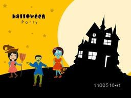 Illustration of a girl wearing witch hat and holding horn broom with two horrible ghosts, silhouette of a house and stylish text Halloween party.